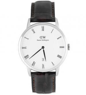 Часы круглой формы с кожаным браслетом Daniel Wellington