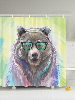 Фотоштора для ванной Медведь в очках, 180*200 см Magic Lady. Цвет: зеленый, бежевый, бирюзовый, коричневый, розовый, фиолетовый