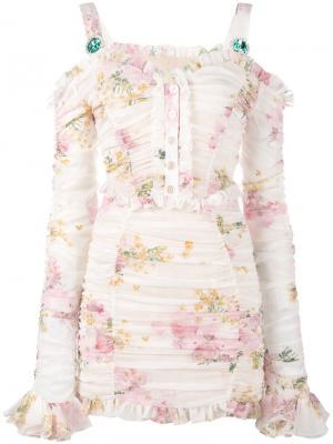 Мини-платье с цветочным принтом Alessandra Rich. Цвет: телесный
