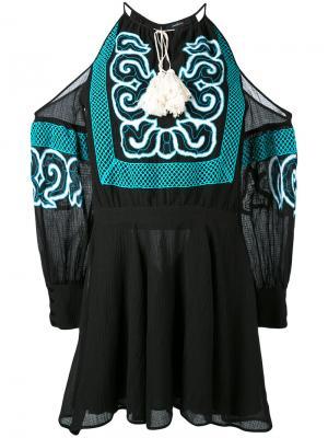 Платье шифт с вышивкой Wandering. Цвет: чёрный