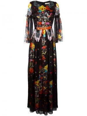 Длинное платье с цветочным принтом Piccione.Piccione. Цвет: чёрный