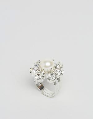 Krystal Кольцо с кристаллами Swarovski и жемчугом. Цвет: прозрачный