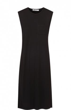 Платье-миди прямого кроя без рукавов T by Alexander Wang. Цвет: черный