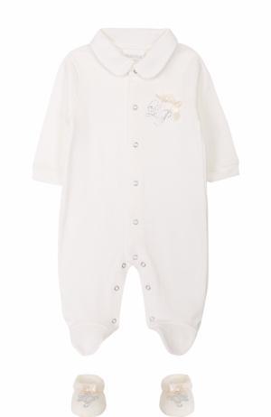 Хлопковая пижама с пинетками La Perla. Цвет: бежевый