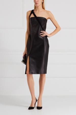 Кожаное платье Mugler. Цвет: черный