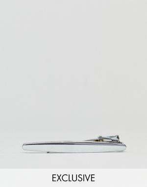 DesignB London Серебристый зажим для галстука эксклюзивно ASOS. Цвет: серебряный