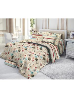 Комплект постельного белья, ALPEN Verossa. Цвет: бежевый, красный, голубой