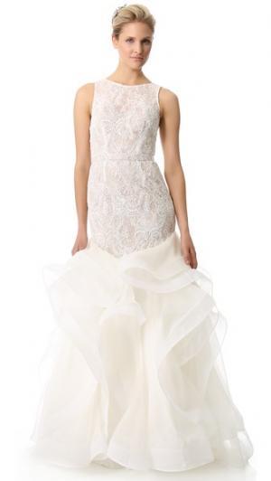 Ниспадающее каскадом расшитое вечернее платье с кружевом Theia. Цвет: серый