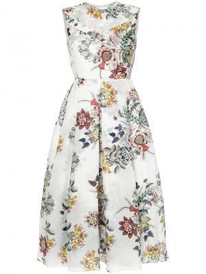 Расклешенное платье с цветочным рисунком Erdem. Цвет: белый