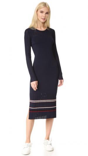 Трикотажное платье в полоску Grey Jason Wu. Цвет: полночный/полночный в полоску
