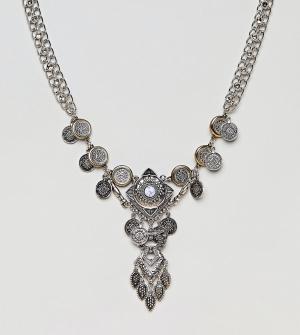 ASOS Curve Ожерелье с подвесками-монетами эксклюзивно для DESIGN. Цвет: серебряный
