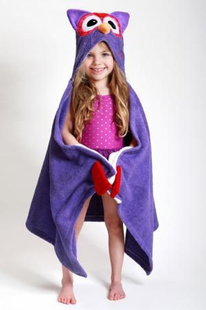 Фиолетовое полотенце с капюшоном Zoocchini. Цвет: multicolor
