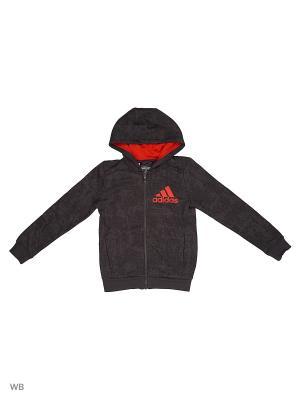 Толстовка  дет. спорт. YB ESS AOP FZ H UTIBLK/BLACK Adidas. Цвет: серо-коричневый, красный