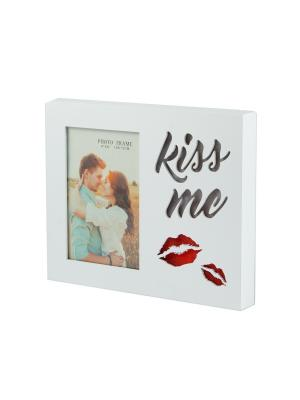Фоторамка Kiss me Русские подарки. Цвет: красный, белый