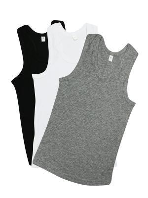 Майка, 3 шт. Glamuriki. Цвет: черный, белый, серый