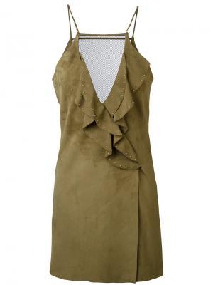 Платье с оборками Jitrois. Цвет: зелёный