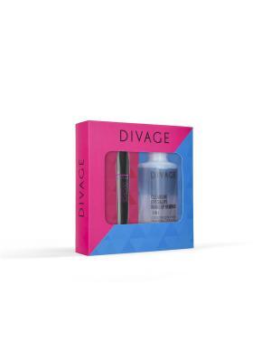 Набор подарочный № 63: тушь 90х60х90 longlashes 7501 + средство для снятия макияжа с глаз и губ DIVAGE. Цвет: черный