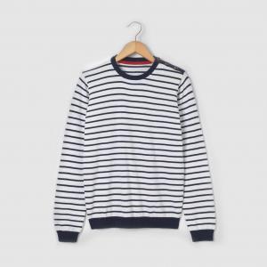 Пуловер в полоску с круглым воротником, 100% хлопка, для 10-16 лет R édition. Цвет: экрю/в полоску синий