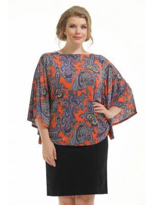 Блузка Pretty Woman. Цвет: синий, оранжевый