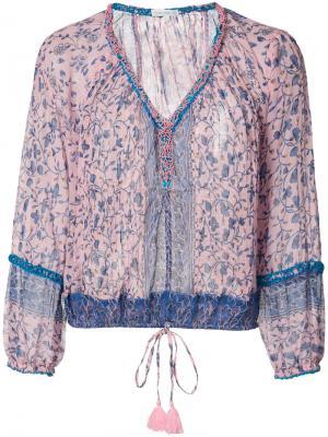 Блузка с цветочным узором Poupette St Barth. Цвет: розовый и фиолетовый