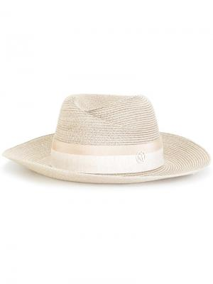 Шляпа-федора с логотипом Maison Michel. Цвет: телесный