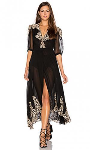 Кружевное вечернее платье с запахом в античном стиле Nightcap. Цвет: черный