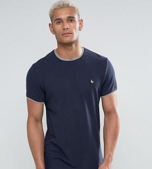Jack Wills Темно-синяя футболка слим из ткани пике с кантом Gunnersbur. Цвет: темно-синий