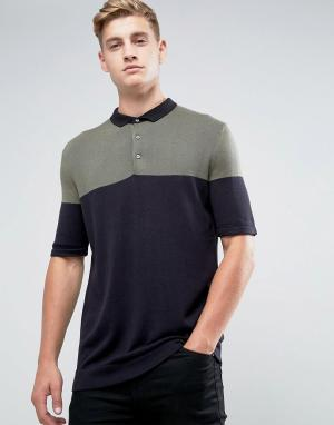 Kiomi Трикотажная футболка-поло в стиле колор блок. Цвет: зеленый