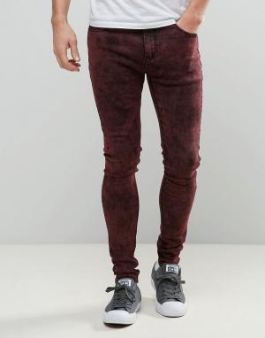 Liquor N Poker Красные зауженные джинсы с эффектом кислотной стирки. Цвет: красный