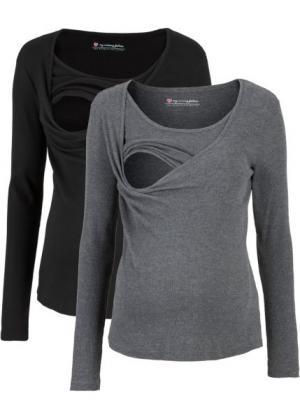 Мода для беременных и кормящих мам: футболка (2 шт.) (черный/серый меланж) bonprix. Цвет: черный/серый меланж