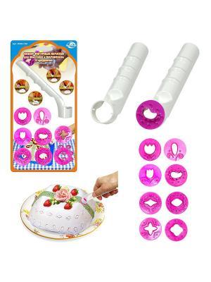 Набор фигурных печатей для мастики и марципана, 9 предметов МультиДом. Цвет: розовый