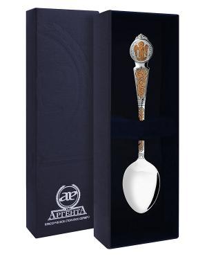 Ложка Ангел-Хранитель частично позолоченная пр.925+футляр АргентА. Цвет: серебристый