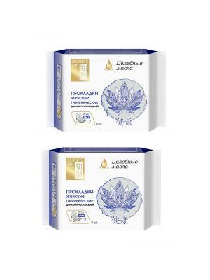 Прокладки Целебные масла (3 капли) 8шт 2уп Secrets Lan. Цвет: голубой, белый