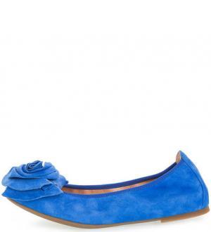 Синие замшевые балетки UNISA. Цвет: синий