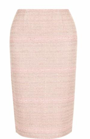 Буклированная юбка-карандаш с разрезом St. John. Цвет: розовый