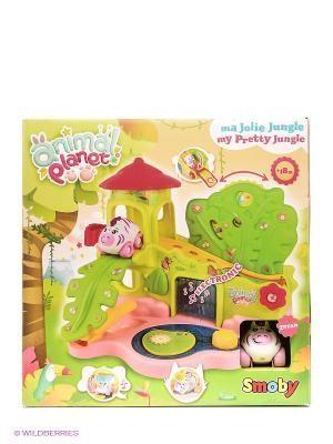 Домик в джунглях Animal Planet, 38*30*27см, 1/4 Smoby. Цвет: зеленый, оранжевый, розовый