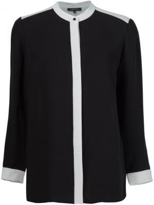 Рубашка с контрастной окантовкой Lafayette 148. Цвет: чёрный