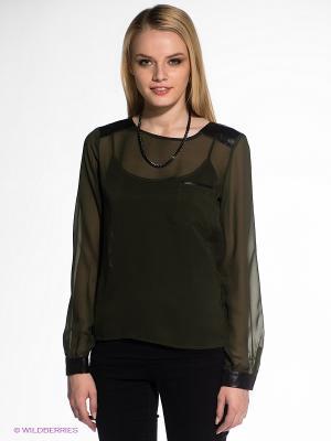 Блузка OBJECT. Цвет: темно-зеленый