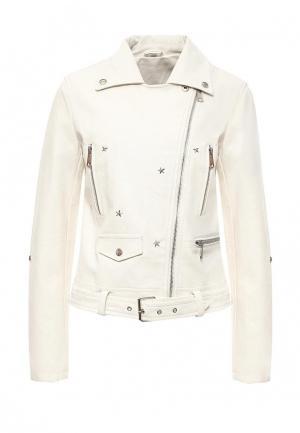 Куртка кожаная B.Style. Цвет: белый