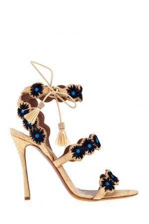 Босоножки с вышивкой Iris Tabitha Simmons. Цвет: бежевый, черный, синий