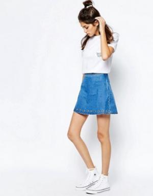 See You Never Denim Джинсовая юбка с люверсами. Цвет: синий