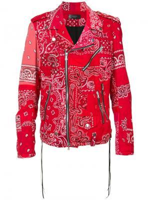 Байкерская куртка с вышивкой Amiri. Цвет: красный