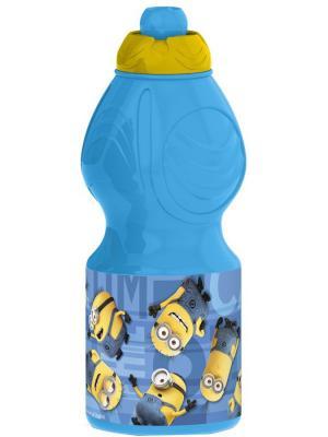 Бутылка пластиковая (спортивная, фигурная, 400 мл). Миньоны Правила Stor. Цвет: голубой
