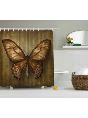 Фотоштора для ванной Бабочки в полёте, 180*200 см Magic Lady. Цвет: коричневый, бежевый