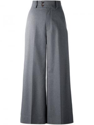 Широкие укороченные брюки 08Sircus. Цвет: серый