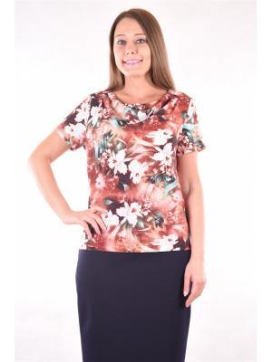 Блузка женская OLBE. Цвет: коричневый, бежевый