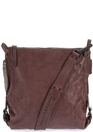 Кожаная сумка через плечо с дополнительной косметичкой aunts & uncles. Цвет: фиолетовый
