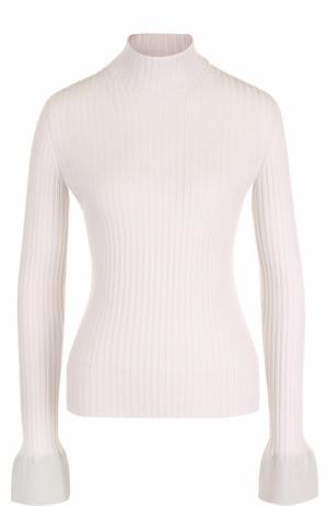 Шерстяной приталенный свитер с высоким воротником MRZ. Цвет: светло-серый