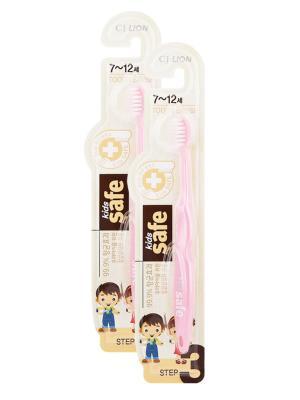 Детская зубная щетка  Kids safe toothbrush (шаг 3, 7-12 лет) розовая х 2шт Cj Lion. Цвет: розовый