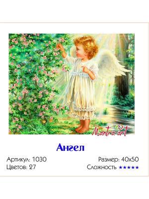 Живопись на холсте Ангел + диск в подарок MantraArt. Цвет: белый